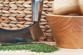 Chopped coriander cilantro leaves with herb chopper and pestle a — Stock Photo