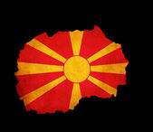 Macedonia grunge map outline with flag — Stock Photo