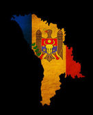 Moldova grunge map outline with flag — Stock Photo