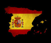 Spain grunge map outline with flag — Stock Photo