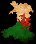 Contorno del mapa de grunge con bandera de gales — Foto de Stock