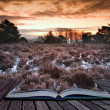 Winter sunrise coming out of pages in magic book — Stock Photo