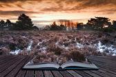 Sihirli kitap sayfalarında çıkan kış gündoğumu — Stok fotoğraf