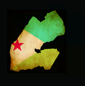 Map outline of Djibouti with flag grunge paper effect — Stock Photo