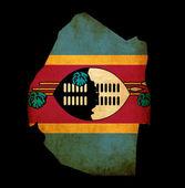 Contorno do mapa da suazilândia com efeito de papel grunge bandeira — Foto Stock