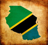 Map outline of Tanzania with flag grunge paper effect — Stock Photo