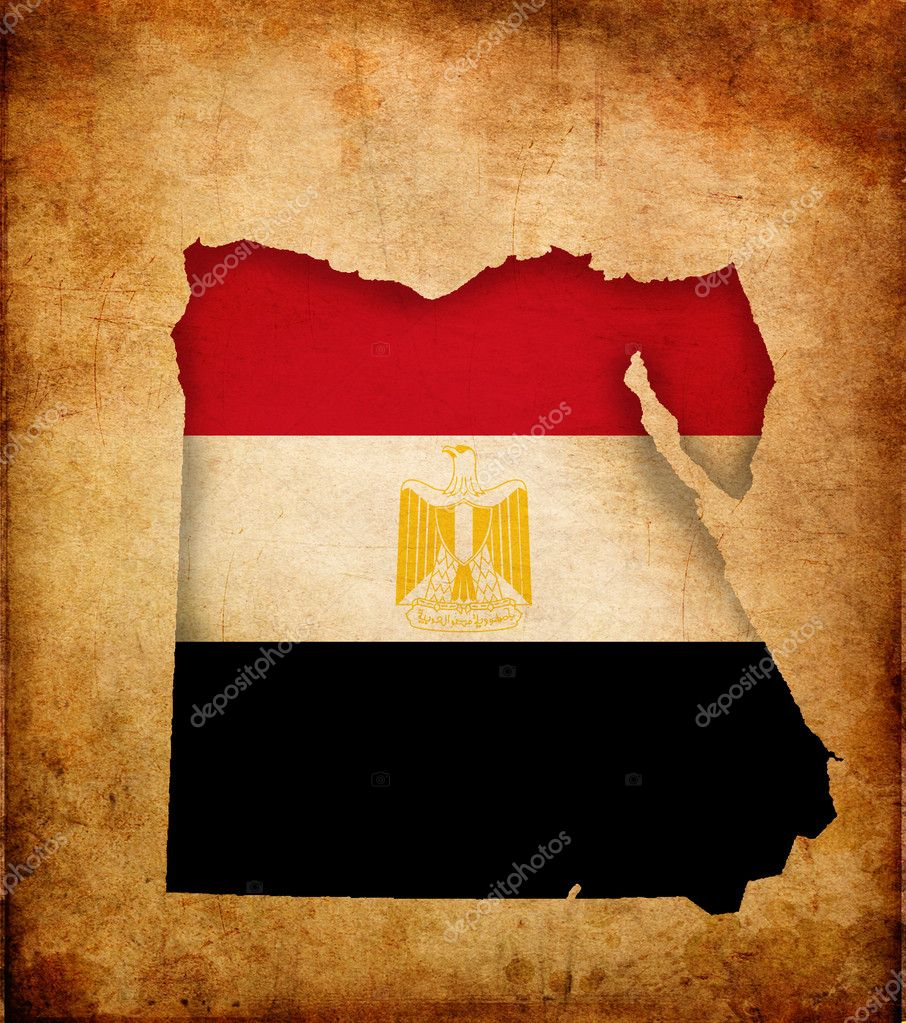 Outline map of Egypt with flag and grunge paper effect — Stock Photo #9505166