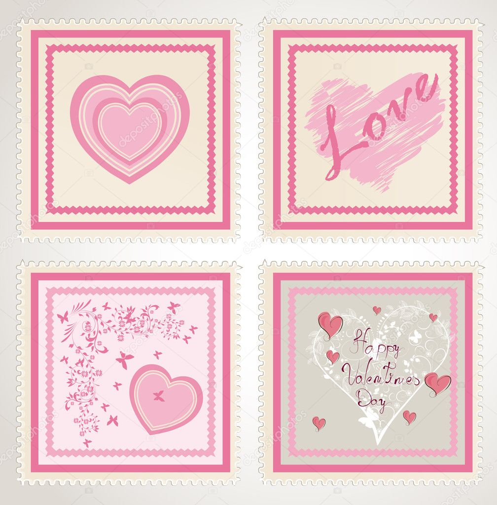 Valentine`s day stamps set — Stock vektor #8611211