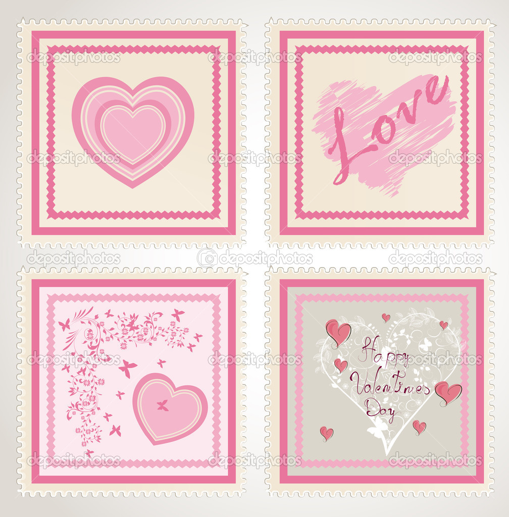 Valentine`s day stamps set — Image vectorielle #8611211