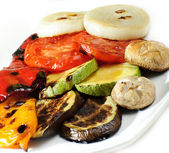 Grilled vegetables,fried eggplants with fresh tomato isolated on white — Stock Photo