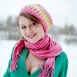 Beautiful girl in pink scarf — Stock Photo