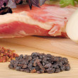 Raw lamb meat with onion and spices — Stock Photo #8422843