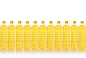 Cooking oil bottle in a row isolated on white — Stock Photo