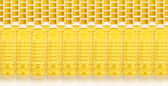 Background of cooking oil bottle in a rows — Stock Photo
