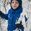 Little boy in fairy ice forest — Stock Photo #8924856