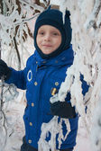 Little boy in fairy ice forest — Stock Photo
