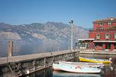 Fishing boats in Malcesine, lake of Garda, Italy — Stock Photo