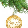 Golden ornament christmas ball in a fir tree — Stock Photo