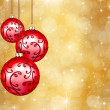 Three beautiful red christmas balls - Stock Photo