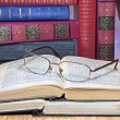 Vintage books with glasses — Stock Photo