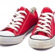 Vintage red shoes on white background — Stok fotoğraf