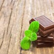 Dark chocolate with fresh mint leaves — Foto de Stock