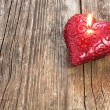 Red heart shaped candle — Stock Photo
