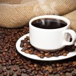Cup of coffee coffee beans — Stock Photo