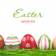 Stock Photo: Decorated easter eggs in grass