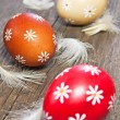 Three painted easter eggs — Foto Stock