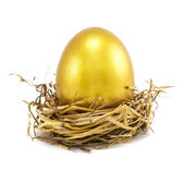 Golden eggs in nest — ストック写真