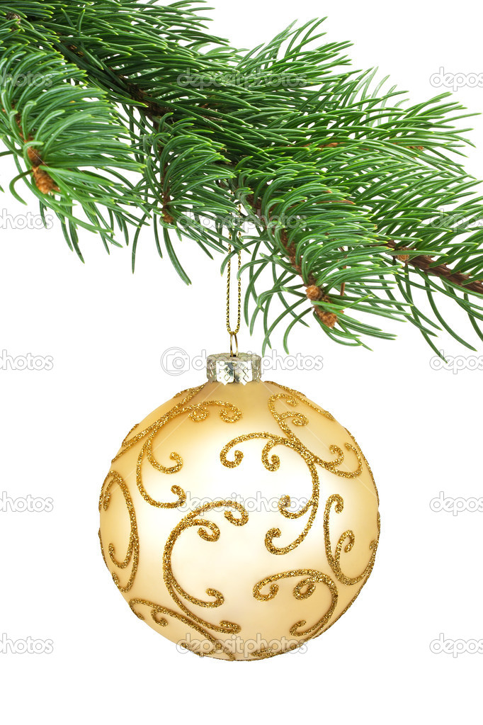 Golden ornament christmas ball in a fir tree on a white background — Stock Photo #9473282