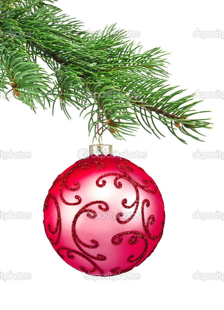 Red ornament christmas ball in a fir tree on a white background — Stock Photo #9473322
