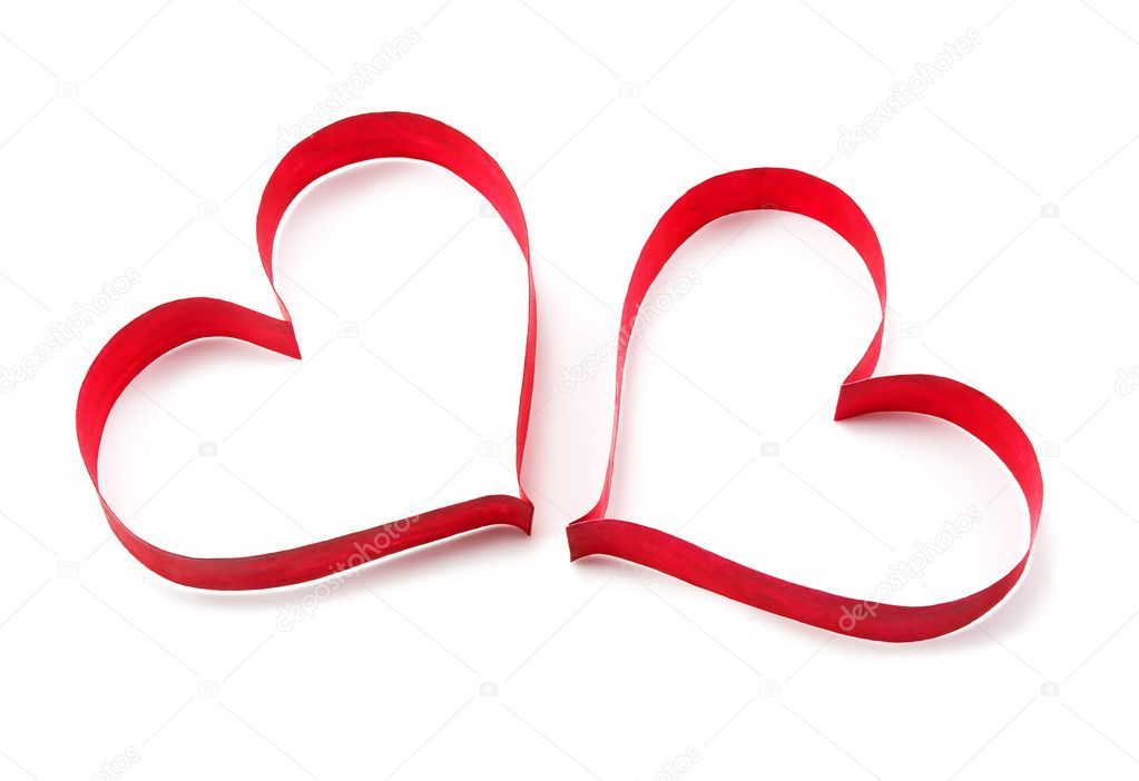 Paper red hearts on white background — Stock Photo #9473486