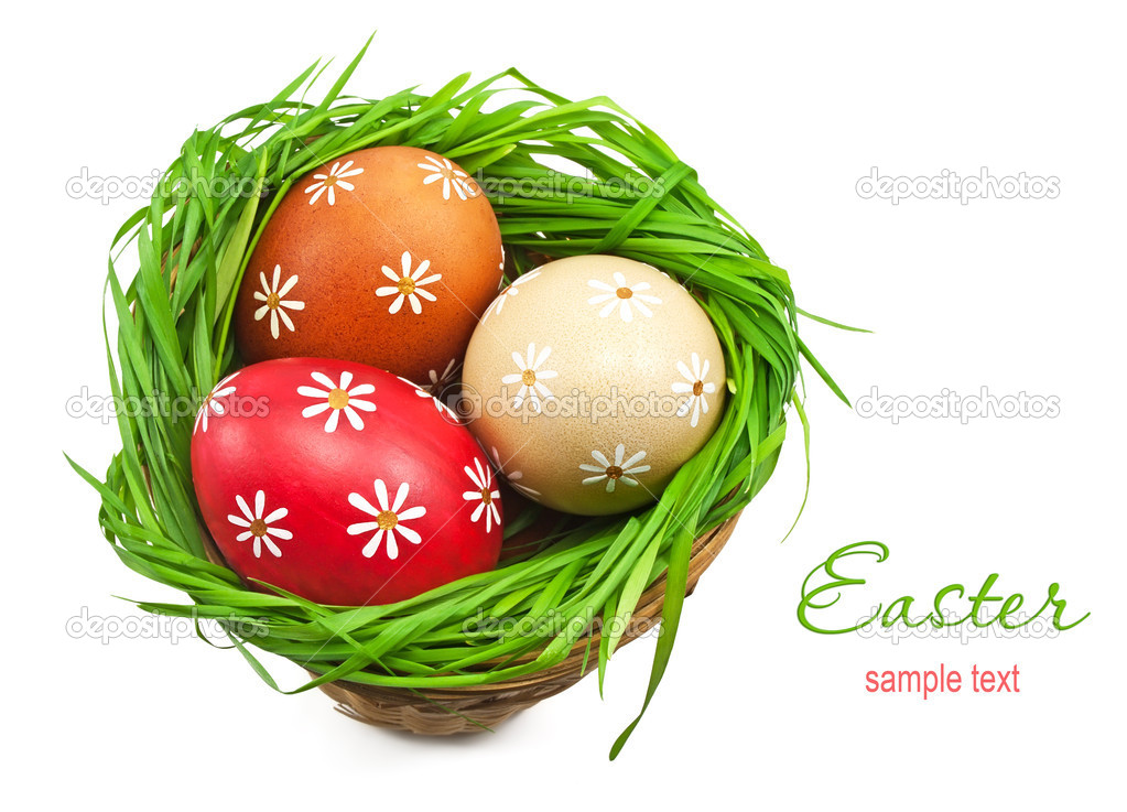 Easter eggs in the basket on white background — Stock Photo #9473940