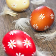 Stock Photo: Three painted easter eggs