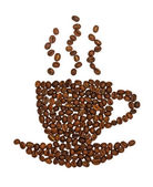 Coffee cup made of beans — Stock Photo