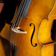 Cello resting on a warm wood cabinet — Stock Photo
