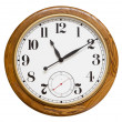 Stock Photo: Wood wall clock, isolated