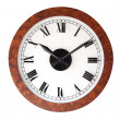 Wood wall clock, isolated — Stock Photo