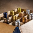 Wine bottles in a cardboard box — Stock Photo
