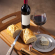 Wine ,cheese and bread still life — Stock Photo