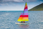 Sailing a hobie cat — Stock Photo