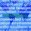 Outsourcing Word Meaning Subcontracting Offshoring Or Freelance — 图库照片 #10435168