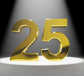 Gold 25th 3d Number Closeup Representing Anniversary Or Birthday — Stock Photo