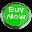 Buy Now Button In Green Showing Purchases And Online Shopping — Stock Photo