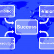 Success Diagram Showing Vision Ambition Execution And Determinat — Stock Photo