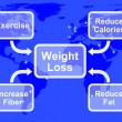 Weight Loss Diagram Showing Fiber Exercise Fat And Calories - Stock Photo