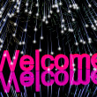 Welcome Word With Fireworks Showing Greeting Of Hospitality — Stockfoto
