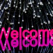 Welcome Word With Fireworks Showing Greeting Of Hospitality — 图库照片